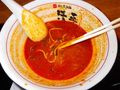 麺とスープの割合に注意しつつ