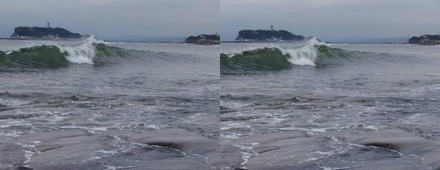 波と江の島