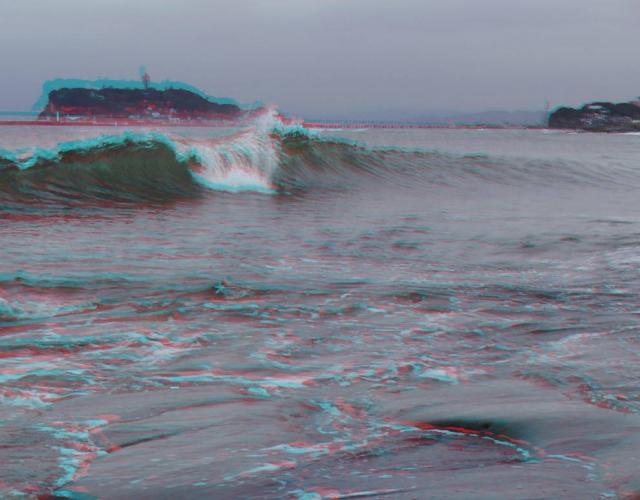 アナグリフ 波と江の島