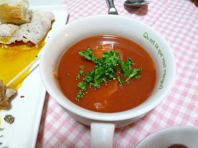 トマトと海鮮冷製スープ
