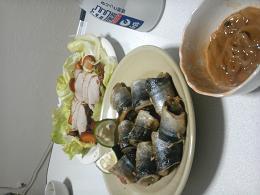 秋刀魚とイカ塩辛