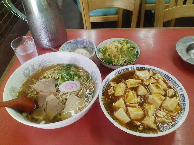 麻婆丼とラーメンセット