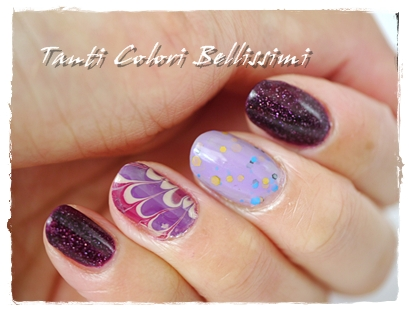 4種の紫WM添えネイル