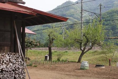 鳥沢付近の民家と線路