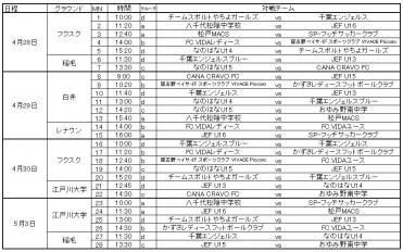 U15選手権予選タイムテーブル
