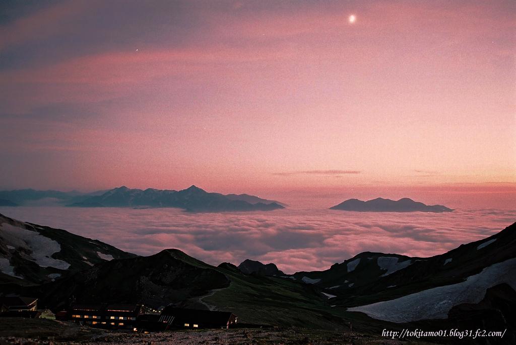白馬岳からの夕景 剱岳