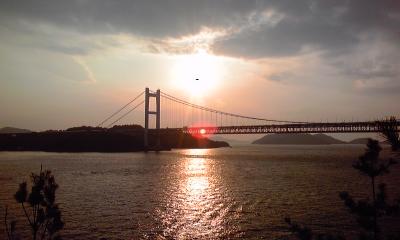 夕日の瀬戸大橋