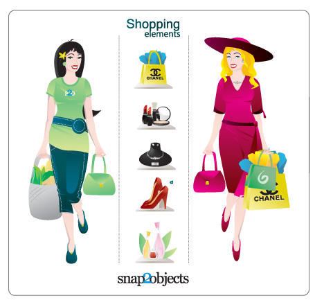 買い物風景 Vector shopping elements and Illustrations
