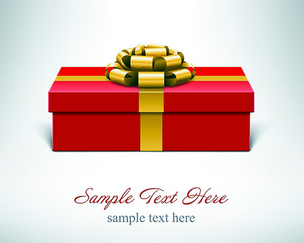 金色リボンの赤いプレゼント箱 Red vector present box with golden ribbon vector