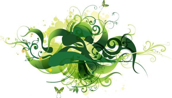 Green Swirl Floral Vector Illustration