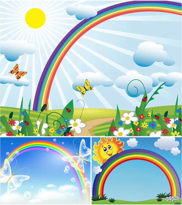 Set of 3 vector illustrations with rainbow