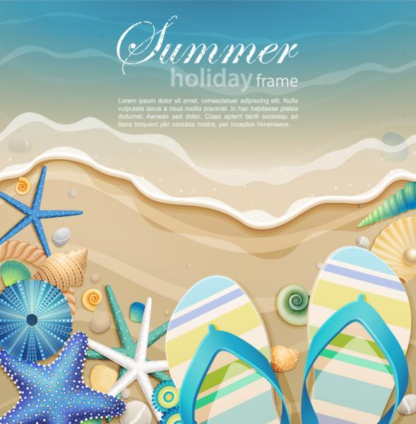 Beach sand and starfishes vector