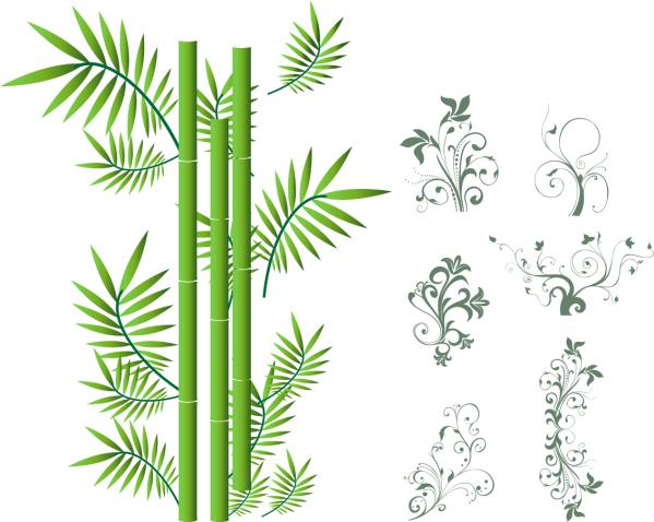 floral-swirls ornaments and bamboo