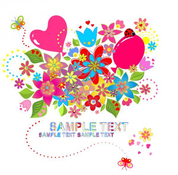 カラフルな花の背景 Colorful flower background vector