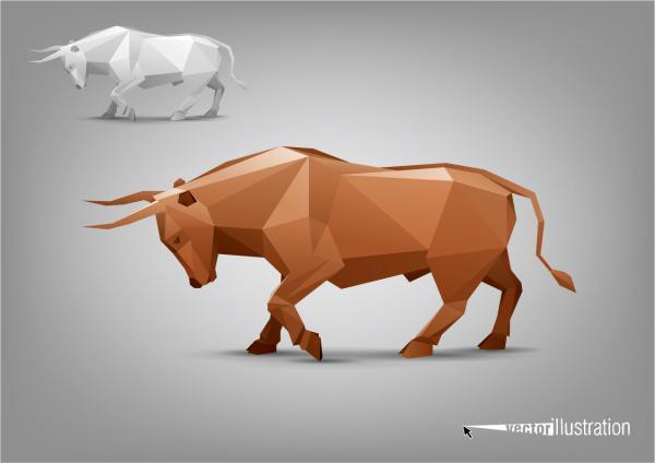 三角形のポリゴンで型どった牛 animal stylized triangle polygon mode