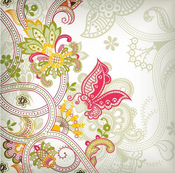 蝶と植物柄の背景 Vintage Flower Pattern Background