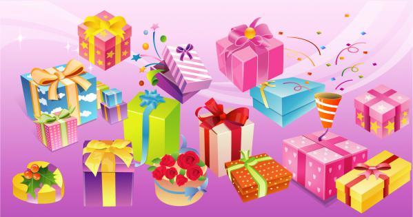 リボン飾りのプレゼント箱 Free Vector Gift