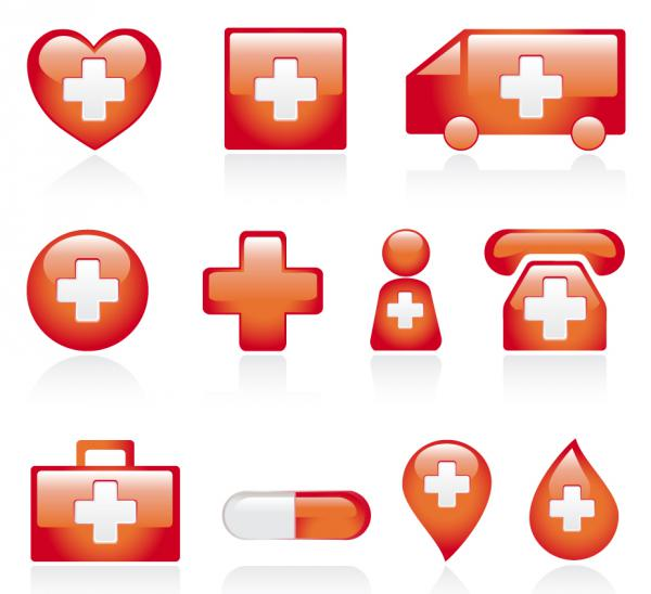 赤い医療アイコン Red medical icons vector