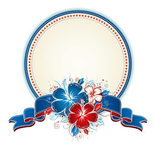 ハイビスカスの花束で飾る円形ラベル Bouquet of hibiscus and circle label