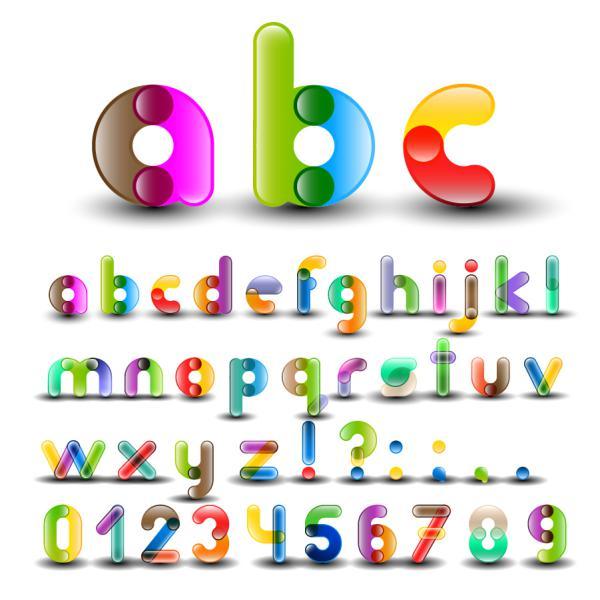 カラフルなキャンディのようなアルファベット Colorful Alphabet with Numbers