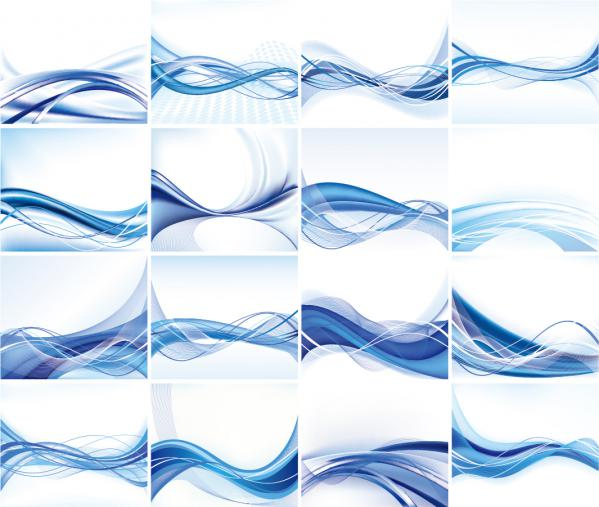 16種の青い曲線の背景 Abstract Vector Background Set