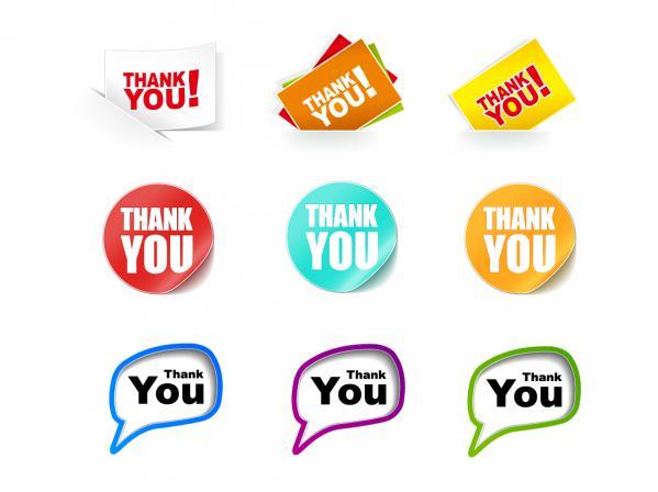 サンキュー ステッカー コレクション Thank You Stickers Vector Collection