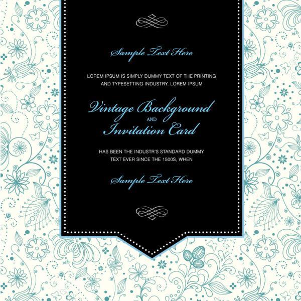 ヴィンテージな招待状のテンプレート Vector vintage invitation card
