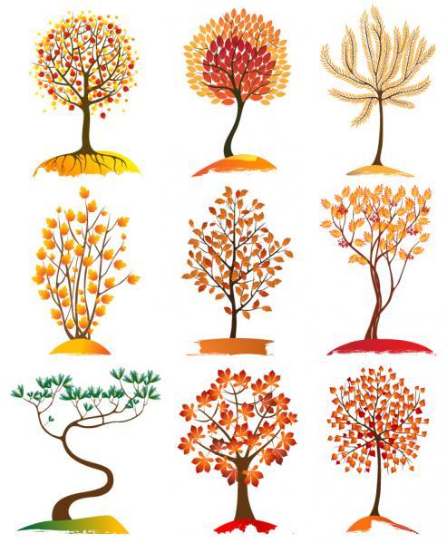 秋の紅葉コレクション Autumn tree collection vector