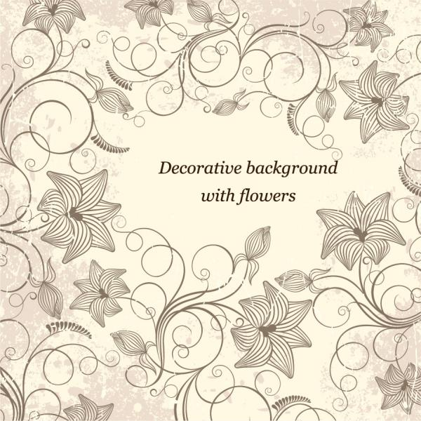 落ち着いた植物飾りの背景 Background with Flowers Vector Art