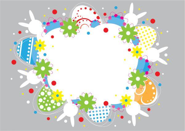 イースター カードのテンプレート Easter Colorful Card Design