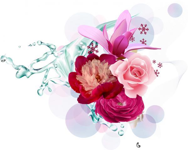 瑞々しい花弁の背景 Vector Flower Art