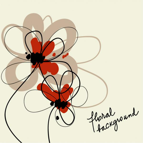 手書きの花の背景 STYLISH HAND-PAINTED FLOWERS VECTOR