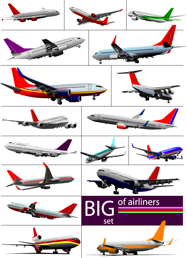 数多くの旅客機の機体 flying aircraft vector material