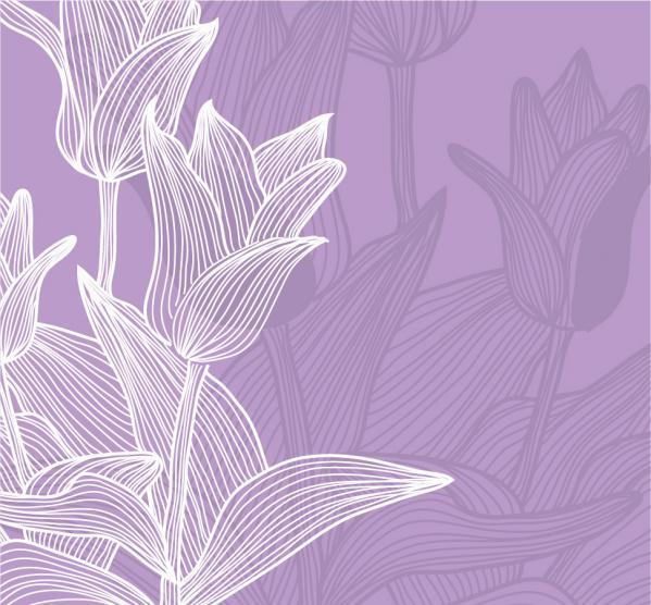 チューリップの線画の背景 line drawing tulips background イラスト素材