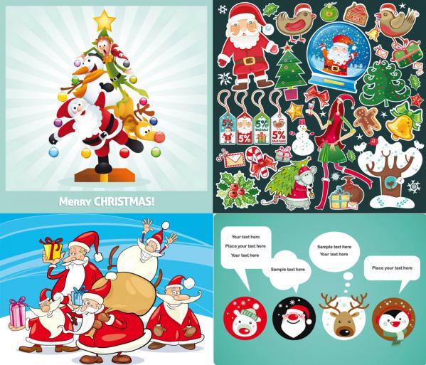 愛らしいサンタクロースのイラスト several cute christmas theme vector