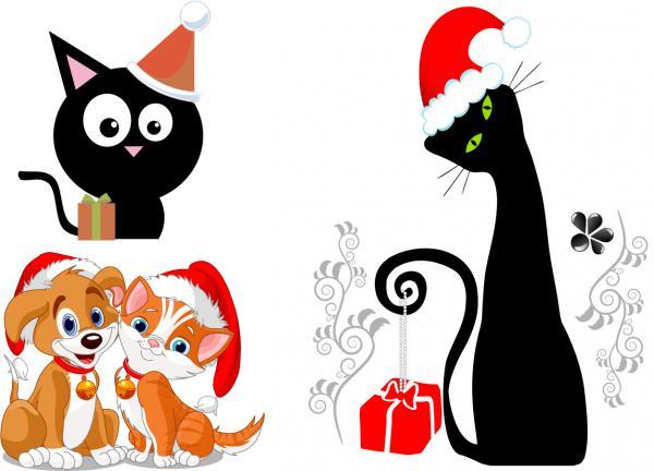 可愛い猫と犬が祝うクリスマス cute cats and dogs christmas vector