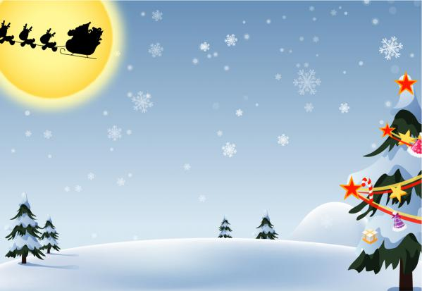 新雪の月夜を走るサンタとソリのシルエット Christmas Santa Claus silhouette on fresh snow
