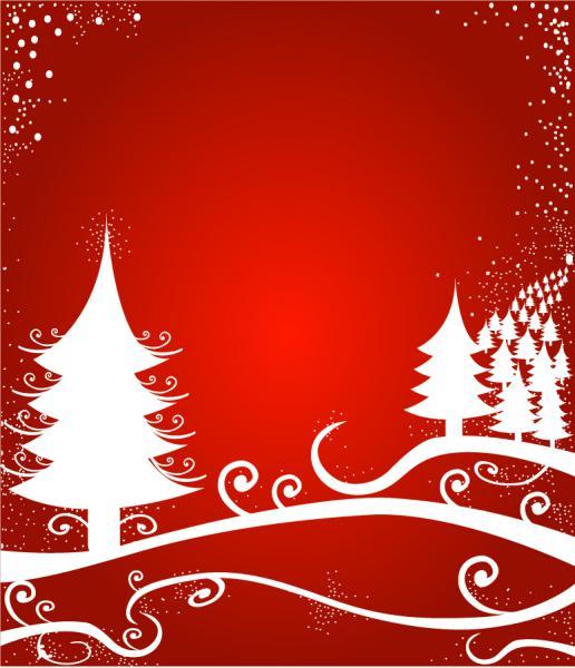 クリスマスを表現した6種類の背景  Santa Claus  tree, Christmas material 1