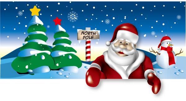 クリスマスを表現した6種類の背景  Santa Claus  tree, Christmas material 6