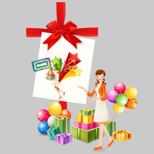 プレゼントと風船の背景 GIFTS, BOW, BALLOON
