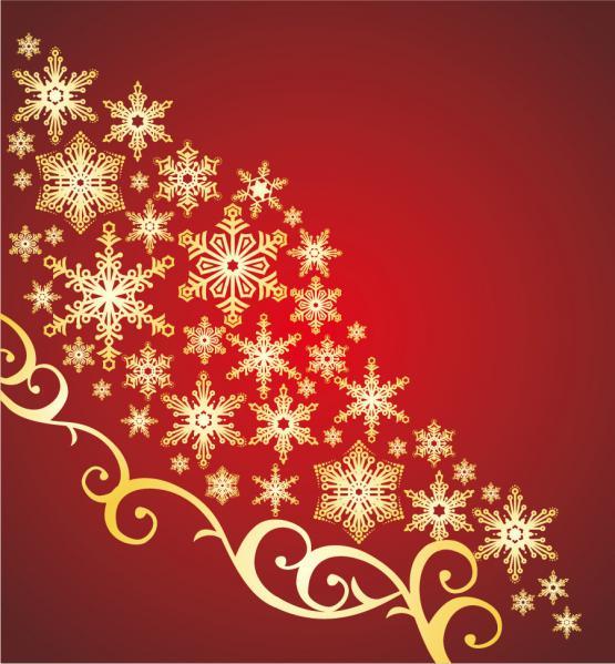 金色の雪が舞う赤い背景 SNOWFLAKE PATTERN VECTOR