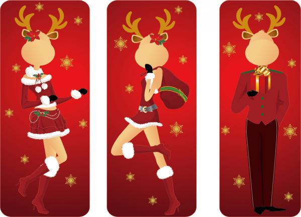 クリスマスを楽しむトナカイの変装 christmas clip art elk gentleman
