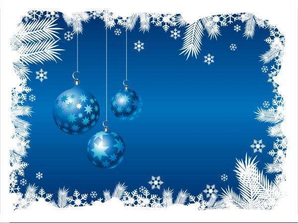 雪とクリスマス ボールのフレーム blue christmas background2