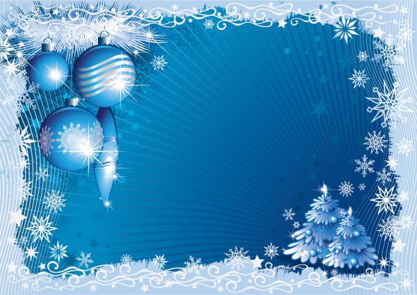 雪とクリスマス ボールのフレーム blue christmas background3