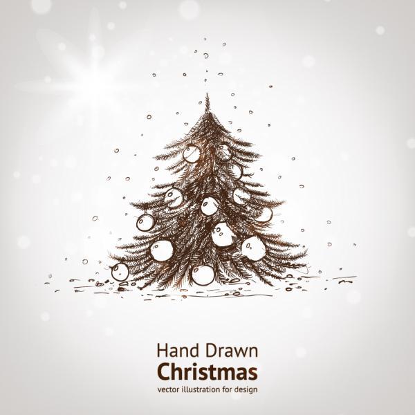 手書きのツリーと輝くクリスマス素材の背景 bright christmas background vector1