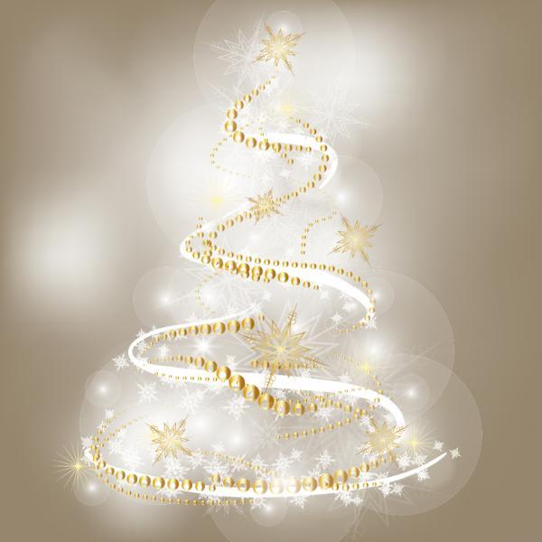 手書きのツリーと輝くクリスマス素材の背景 bright christmas background vector3