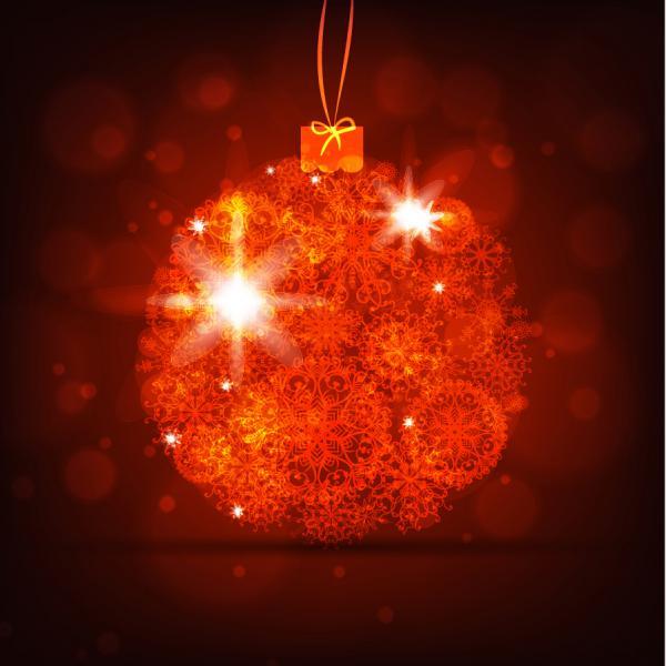 手書きのツリーと輝くクリスマス素材の背景 bright christmas background vector4