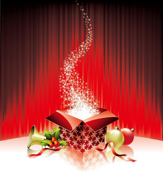 星がきらめくクリスマスボールの背景ギフト ボックス festive christmas gift background1