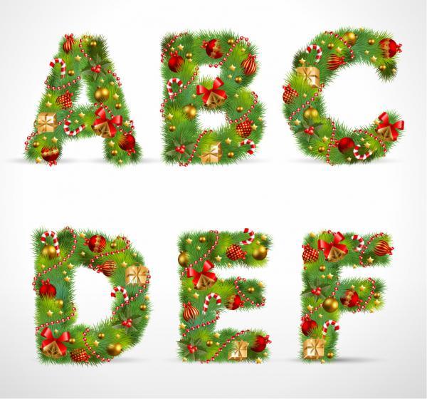 クリスマス飾りで作った文字 christmas ornaments composed of letters