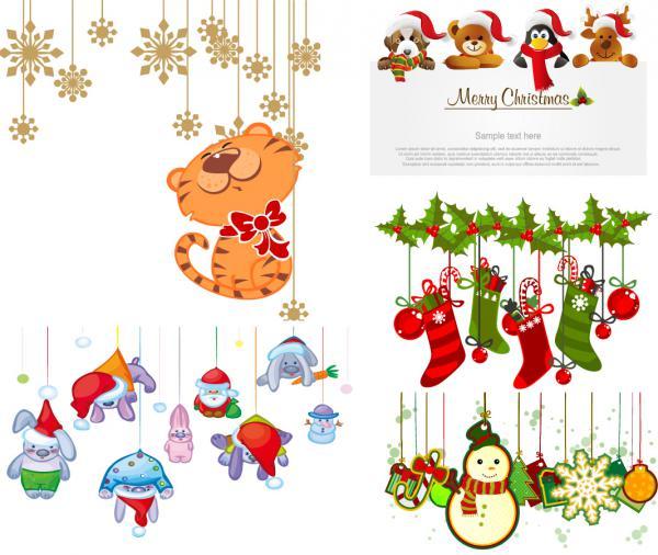 漫画風動物のクリスマス飾り cartoon christmas ornaments vector